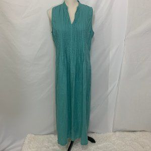J JILL Pleated 100% Linen Sleeveless Maxi Dress